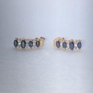 💛 10k YG Blue Sapphire & Diamond Earrings